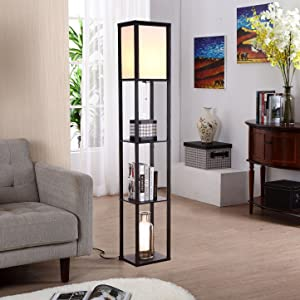 ambience reading light stand up uplight minimalist lighting kids decor table lamp  Brightech Maxwell – Modern LED Shelf Floor Lamp – Skinny End Table & Nightstand for Bedroom – Combo Narrow Side Table with Standing Accent Light Attached – Asian Tower Book Shelves – Black 3236d999 4729 4bf4 ab26 1c97707f4266