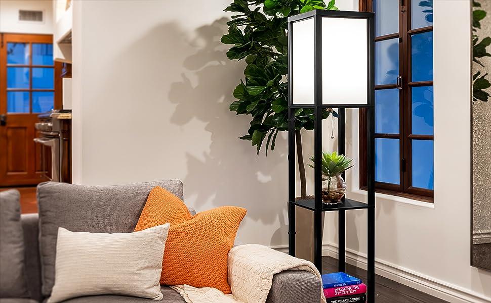 Brightech Maxwell - LED Shelf Floor Lamp - Modern Standing