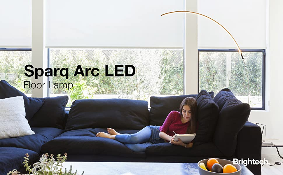Brightech Sparq - Hanging, LED Arc Floor Lamp - Over The ...