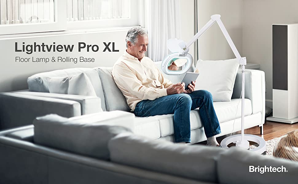 Brightech Lightview Pro XL Magnifying Glass with LED Floor Lamp amp; Rolling Base