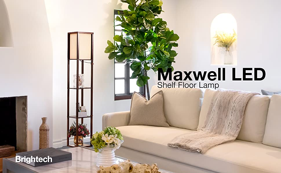 Brightech Maxwell Led Shelf Floor Lamp Modern Standing Light For Living Rooms Bedrooms