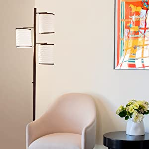 Brightech Liam Asian Lantern Shade Tree LED Floor Lamp Tall Free Standing Pole with 3 LED Light Bulb