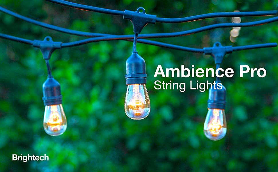 Brightech Ambience Pro Waterproof Outdoor String Lights Hanging Industrial 11w Edison Bulbs 48 Ft Vintage Bistro Lights Create Great Ambience