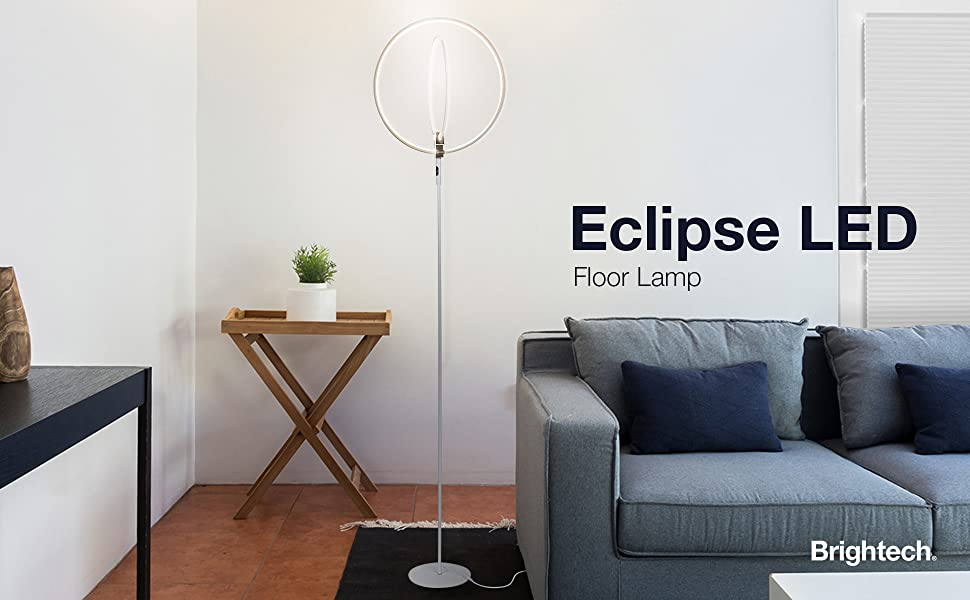 Brightech Eclipse Modern LED Torchiere Floor Lamp - Very High Brightness,  Indoor Lamp - Living Room Standing Light - Alternative To Halogen - Built  In ...