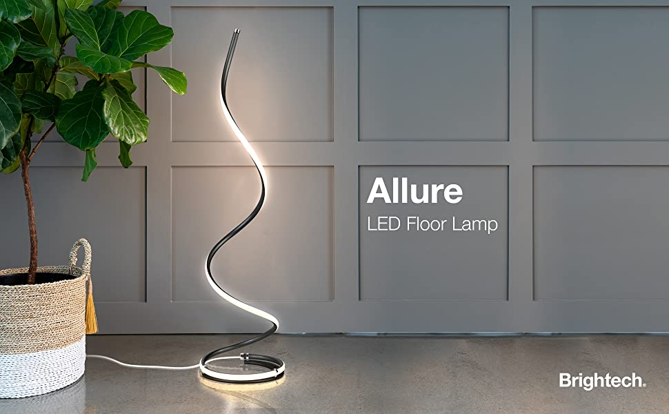 Brightech Allure - Modern LED Floor Lamp for Living Rooms - Bright, Contemporary Standing LED Light