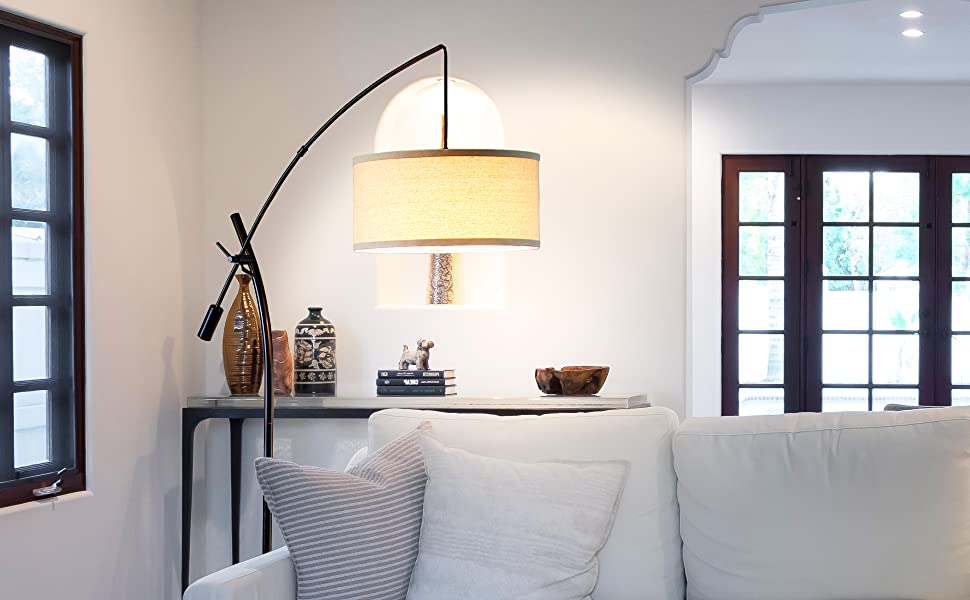 Brightech Grayson Modern Arc Floor Lamp For Living Room