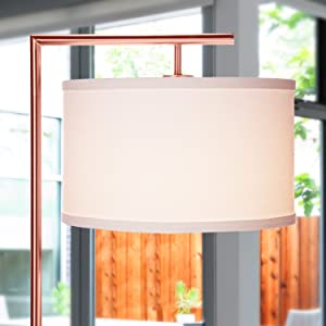 Brightech Montage Modern LED Floor Lamp Living Room Light Standing Pole with Hanging Drum Shade