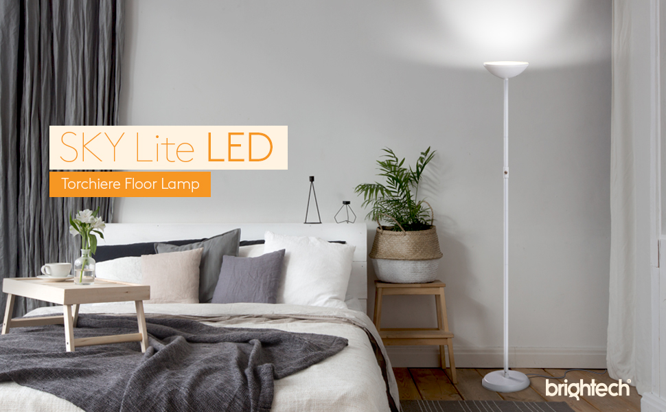Superbe BRIGHTECH SKYLITE LED TORCHIERE FLOOR LAMP