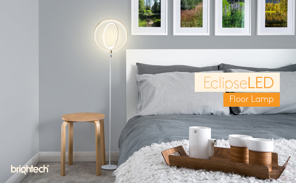 Brightech Eclipse LED Floor Lamp - Double Rings of Light Bring Sci ...