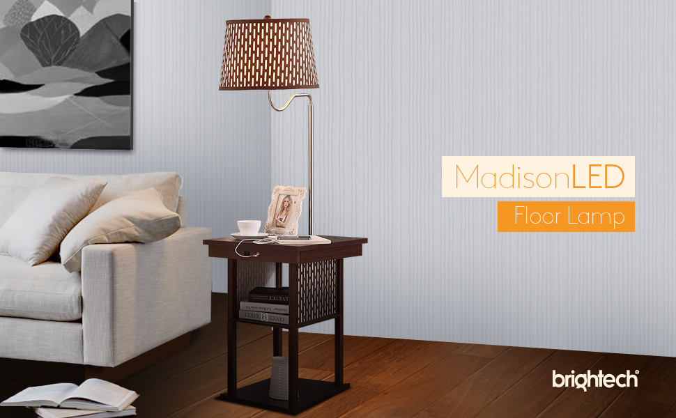 Brightech Madison LED Floor Lamp Swing Arm Lamp W/ Shade
