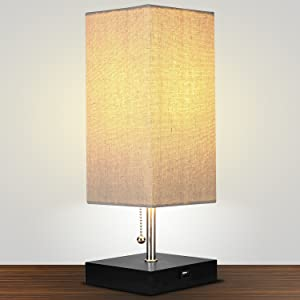 UNIQUE LAMP SHADE AND REAL WOOD BASE: This Modern Side Table Lamp Has A  Modern, Rectangular Lampshade Made Of A Neutral Linen That Allows For Soft,  ...