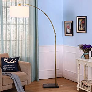Logan LED Arc Floor Lamp with Marble Base - Living Room Lighting For Behind the Couch