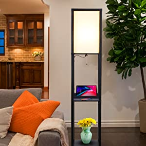 Brightech Maxwell LED Shelf Floor Lamp with Wireless Charging Pad