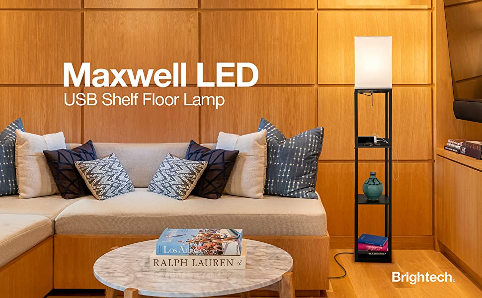 Brightech Maxwell Charger Shelf Floor Lamp With Usb Charging Ports Amp Electric Outlet Tall