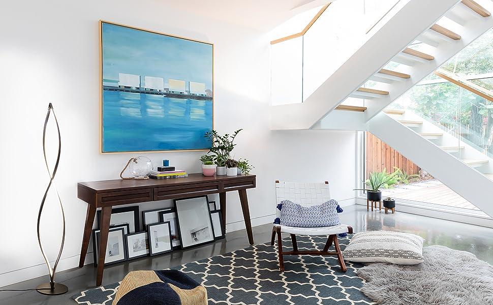 Brightech Twist - Modern LED Living Room Floor Lamp - Bright Contemporary Standing Light