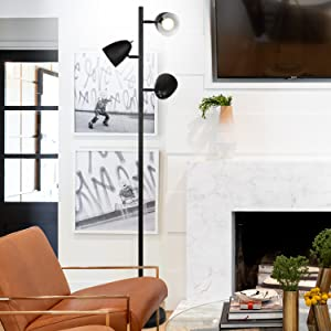 Brightech Jacob - LED Reading and Floor Lamp for Living Rooms & Bedrooms - Classy, Mid Century