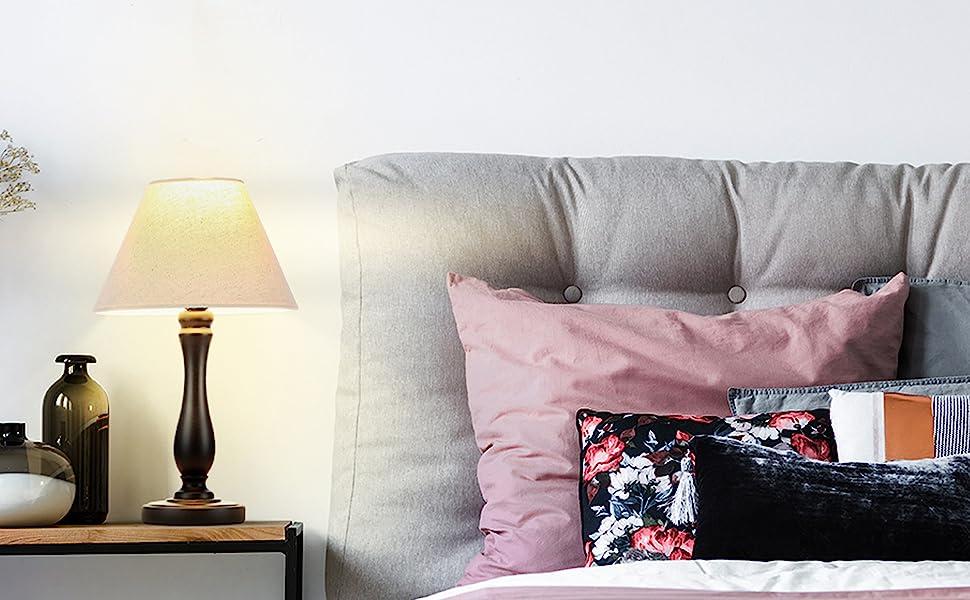 Brightech Noah LED Side Bedside Table & Desk Lamp: Traditional Elegant Black Wood Base