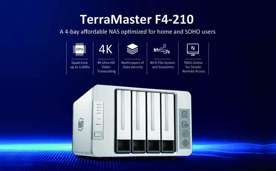 TerraMaster F4-210 4-Bay NAS Quad Core 4K Transcoding Media Server Personal  Cloud Storage (Diskless)