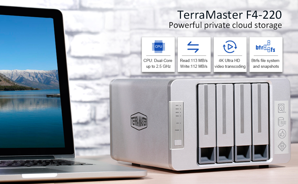 TerraMaster F4-220 NAS 4bay 2 4GHz Intel Dual Core CPU 4K Transcoding Media  Server Network Storage (Diskless)
