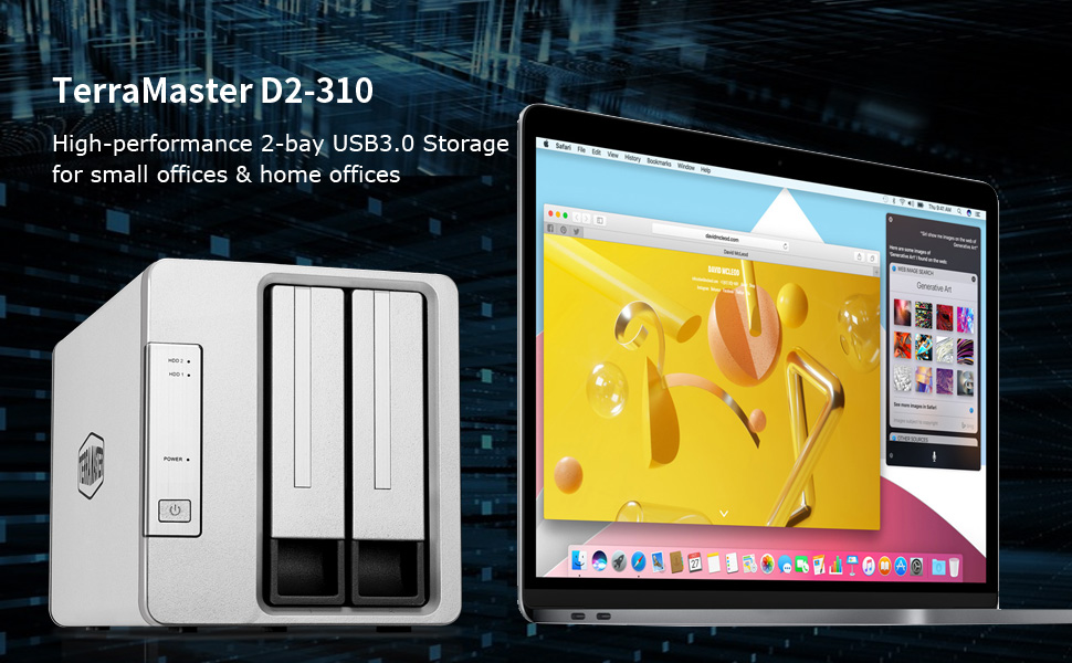 5Gbps Diskless TERRAMASTER D2-310 USB Type C External Hard Drive RAID Enclosure USB3.0 2-Bay RAID Storage Support RAID 0//1//Single