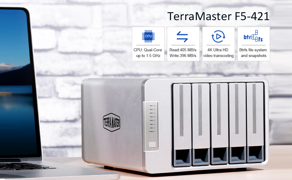 TerraMaster F5-421 NAS 5-Bay Cloud Storage Intel Quad Core 1 5GHz Plex  Media Server Network Storage (Diskless)