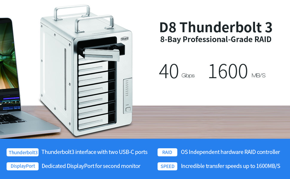 Amazon.com: TerraMaster D8 Thunderbolt 3 Professional-Grade 8-Bay ...