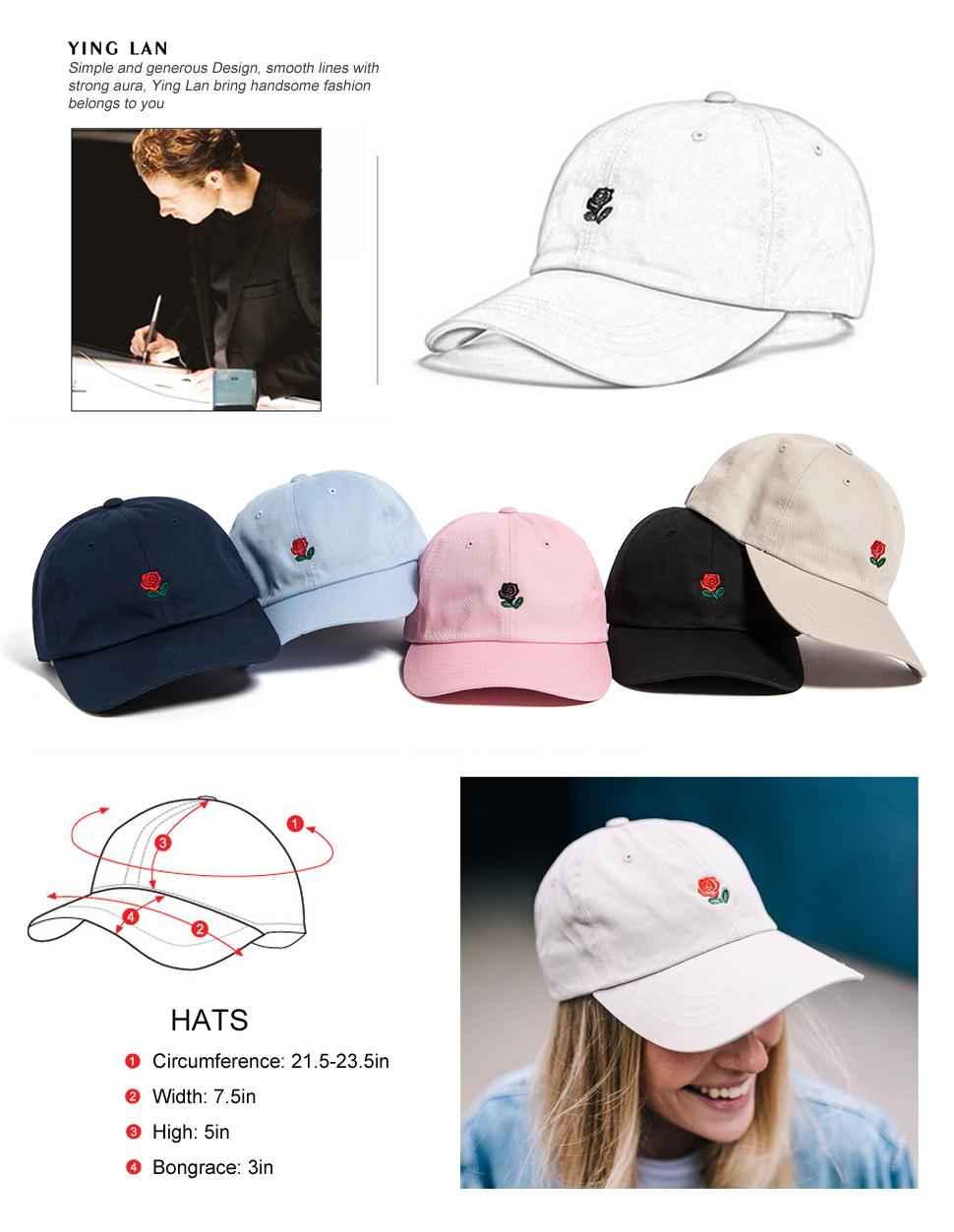 YING LAN Rose Dad Hat Cap Rose Flower Hat Embroidered Adjustable Baseball  Cap 0f5dbd783d17
