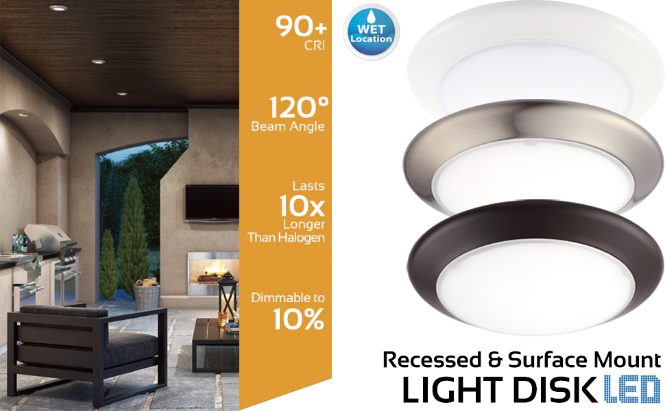 GetInLight Dimmable LED Disk Light, 4-Inch, Surface Mount or Recessed, Soft  White 3000K, Brushed Nickel Finish, ETL Listed, Wet Location Rated,