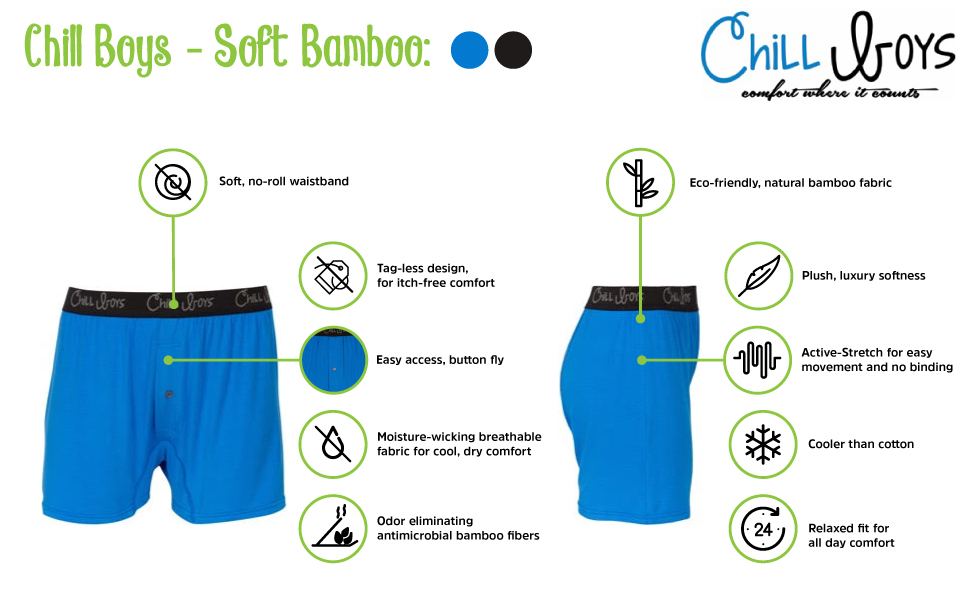 Chill Boys Soft Eco natural Bamboo Mens Boxers no-roll waistband