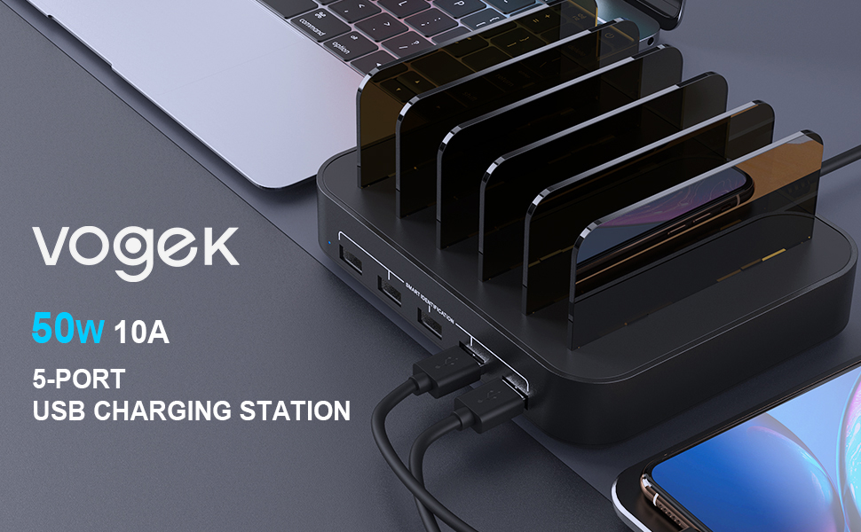 vogek 5 port 50w usb charging station multi device charging hub charger for iphone ipad cellphone 1