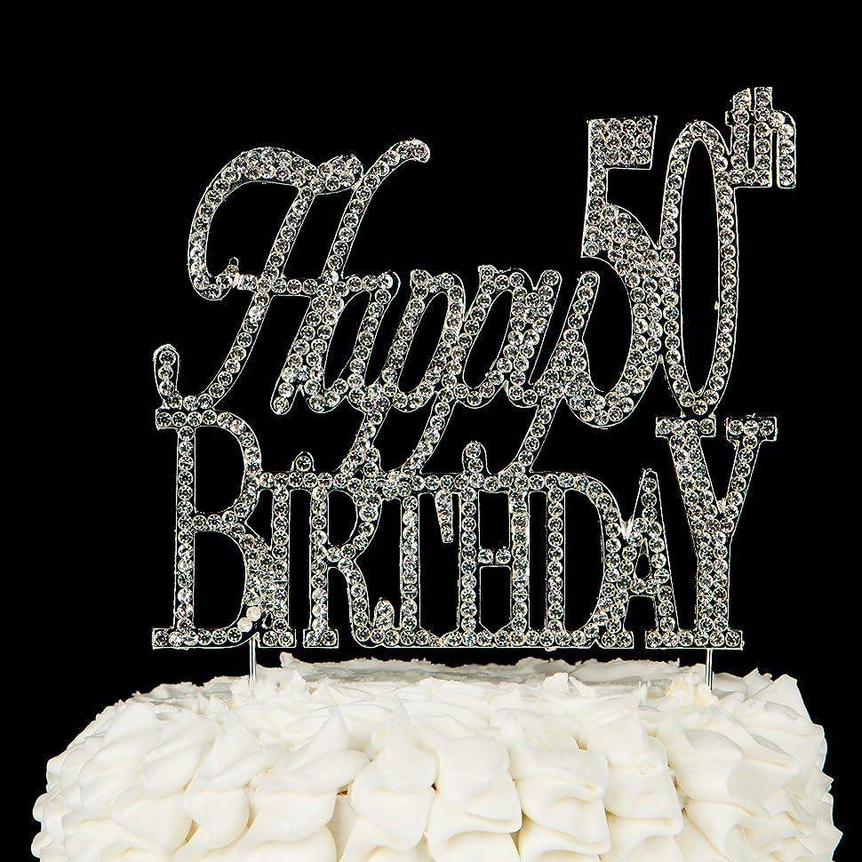 Amazon Happy 50th Birthday Cake Topper 50 Crystal Rhinestone