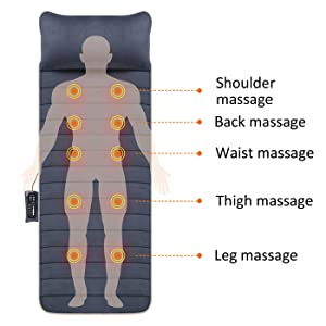 Neck and back massager with heat for chair for couch massage mattress