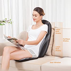 Snailax Shiatsu Massage Cushion with Heat Massage Chair Pad Kneading Back Massager for Home Office Seat use SL-256