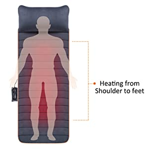 vibrating massage mat with heating from shoulder to feet electric massagers for full back