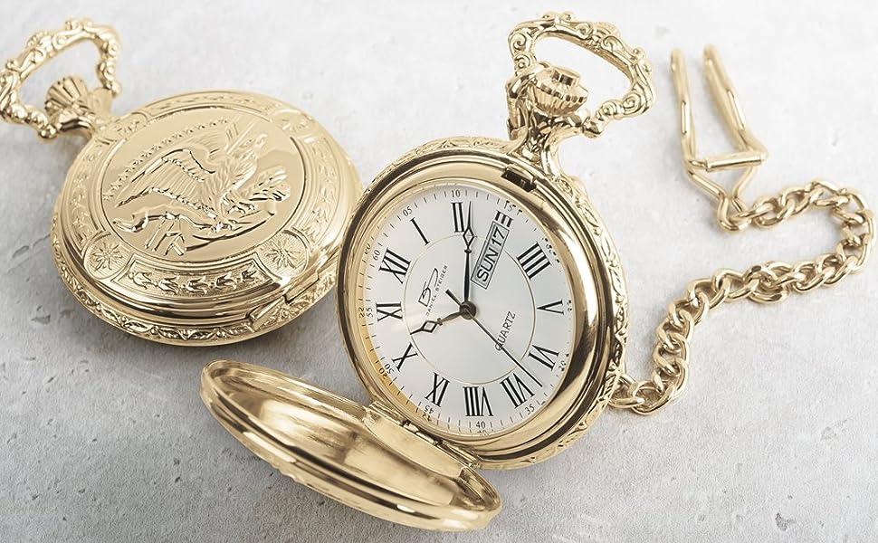 pocket watch pocketwatch timepiece watches gold steel roman numerals chain fashion stylish