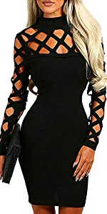 Womens Sexy Cocktail Dresses for Women Party Club Solid Mini Bandage Bodycon Dress Backless