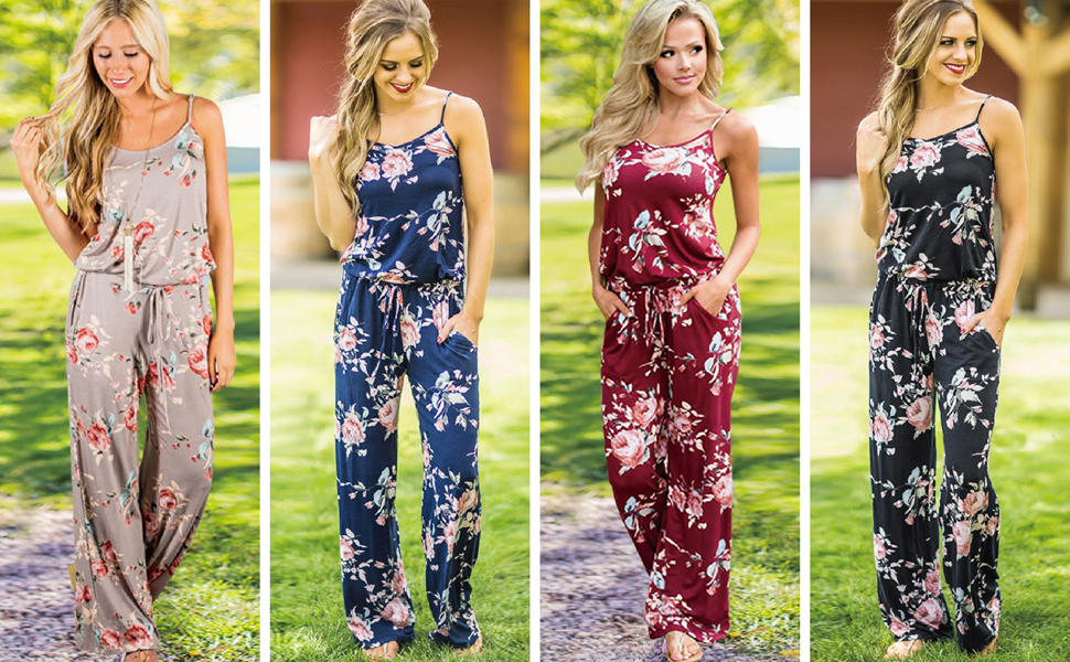 Floral Printed Jumpsuit Women Halter Sleeveless Wide Long Pants Casual Lounge Jumpsuit Rompers