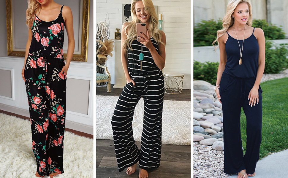 Floral Printed Jumpsuit for Women Halter Sleeveless Wide Long Pants Casual Lounge Jumpsuit Rompers