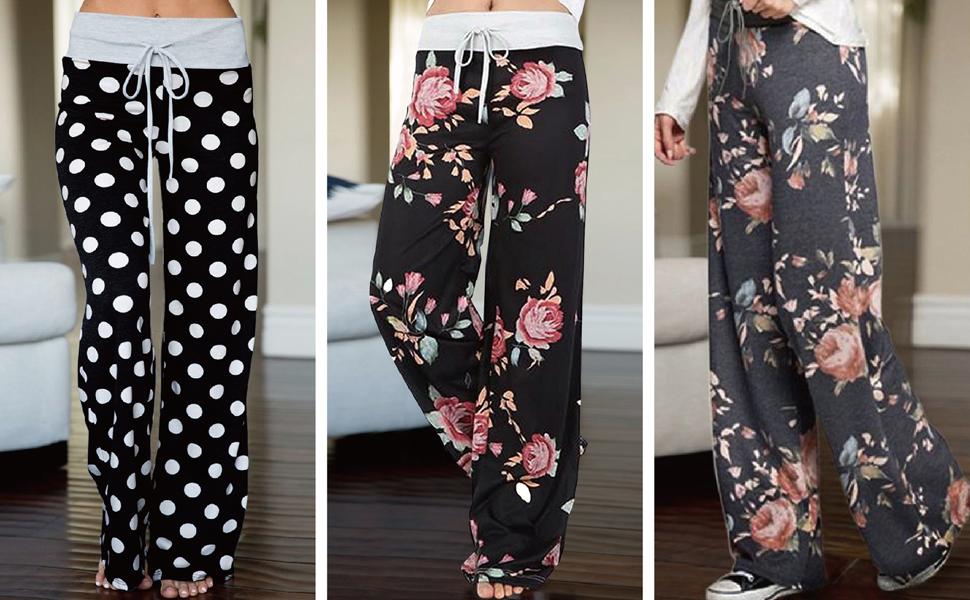 Womens High Waisted Pants Sleep Juniors Pants Pajamas Bottoms Wide Leg Pants Joggers Palazzo Pants