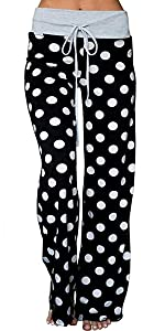 Women's Comfy Pajamas Pant Polka Dot High Waist Wide Legs Casual Palazzo Lounge Pants