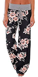 Womens Floral Pajama Pants Palazzo Pants High Waisted Wide Leg Casual Lounge Pants