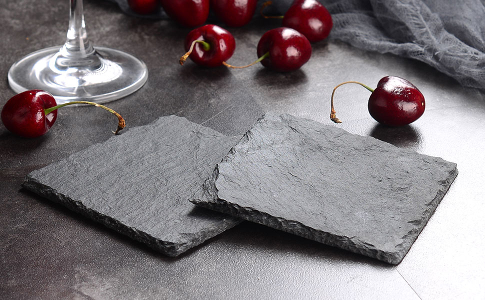 Malacasa Slate Cheese Board, Gourmet Serving Platter Natural Slate Placemat and Coaster Set for 8 People, 4-inch x 4-inch, 8 Pieces