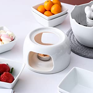 HengTianCheng Ceramic Double Layer Fondue Set,Snack Bowl and Forks for 4 10-Piece Chocolate Fondue,Cheese Fondue or Butter Fondue Set,White