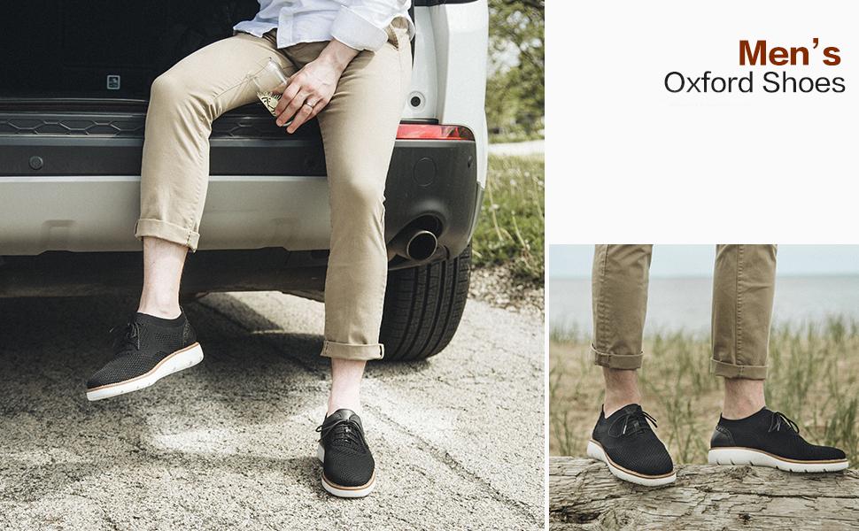 laoks men's mesh sneakers wingtip oxford lightweight breathable walking shoes