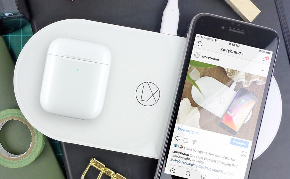 Amazon Com Lxory Dual Wireless Charging Pad Double Qi