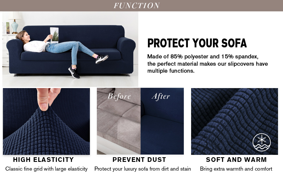 CHUN YI Jacquard Sofa Covers 2-Piece Stretch Polyester Spandex Fabric Couch Slipcover, 3 Seater Sofa Protector (Sofa, Dark Blue)