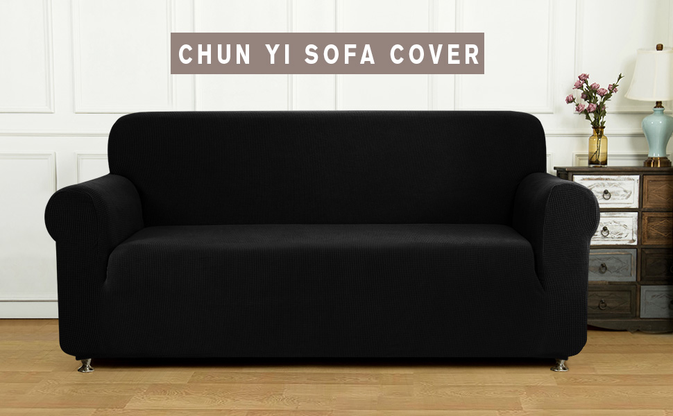 CHUN YI 1-Piece Jacquard High Stretch Sofa Slipcover, Polyester and Spandex 3 Seater Cushion Couch Cover Coat Slipcover, Furniture Protector Cover for ...