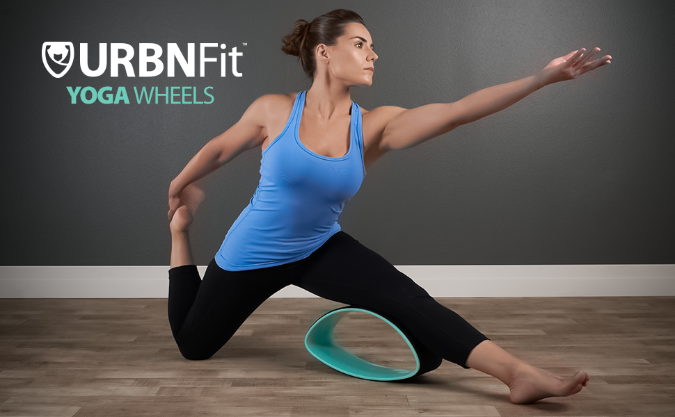 URBNFit Yoga Wheel & Strap Set - Designed for Dharma Yoga Wheel Pose - for Stretching and Increased Flexibility