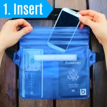 Woman putting her cell phone, passport, money, and credit card into the blue waterproof pouch.