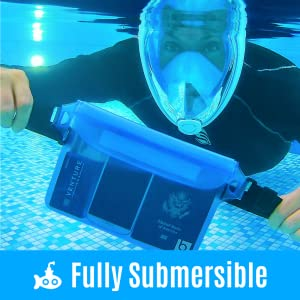 Man holding waterproof pouch while snorkeling with phone, passport, money, and credit card inside.